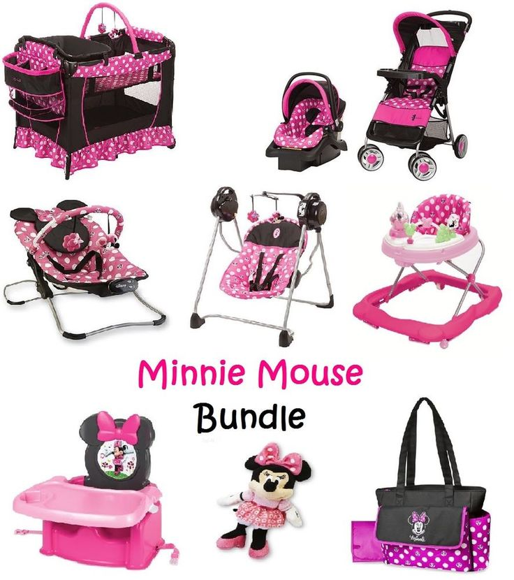 Minnie Mouse Newborn Set Baby Bundle Gift Pink Stroller Play Yard Polka Dot New  #Disney
