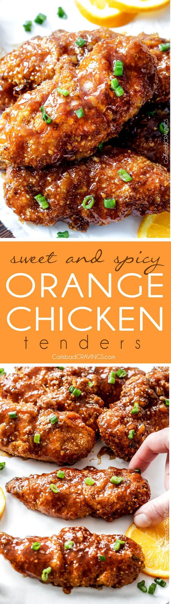 Tender, juicy Baked Orange Chicken Tenders are marinated and smothered in the most tantalizing sweet heat orange sauce you can't even imagine! You will crave this over your favorite Chinese orange takeout! via @carlsbadcraving
