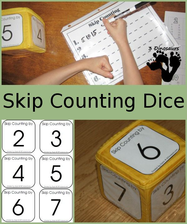 3 Dinosaurs has FREE Skip Counting Dice printables. She also includes activities and games to use these printables.  What you will fin