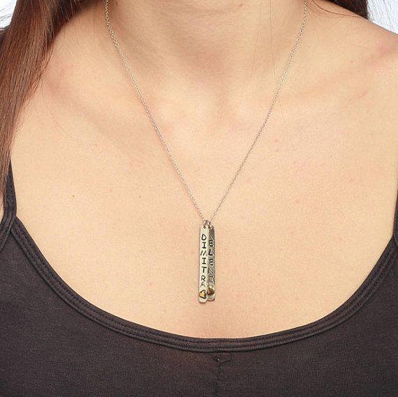Double Bar Necklace, Handstamped Name, Sterling Silver Necklace, Personalized Bar, Silver Name Bar Necklace, Gift for Her, Name Necklace Bar