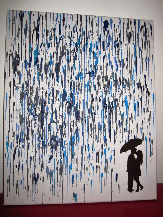 Custom Canvas - Under Umbrella in The Rain - Melted Crayon Art on Etsy, £30.00