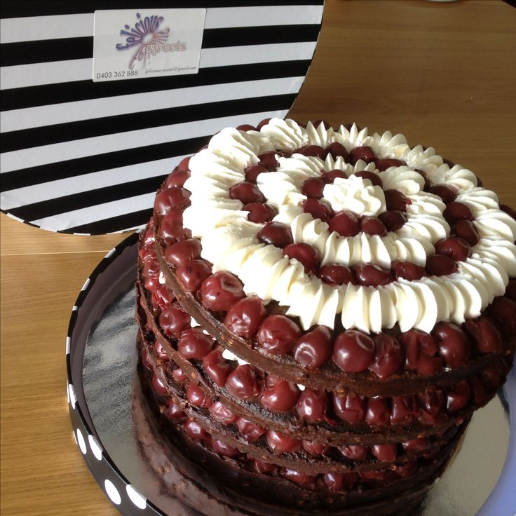 Vegan Black Forest Gateaux    Layers of chocolate cake, marinated cherries and vanilla cream with chocolate ganache. Pure heaven!