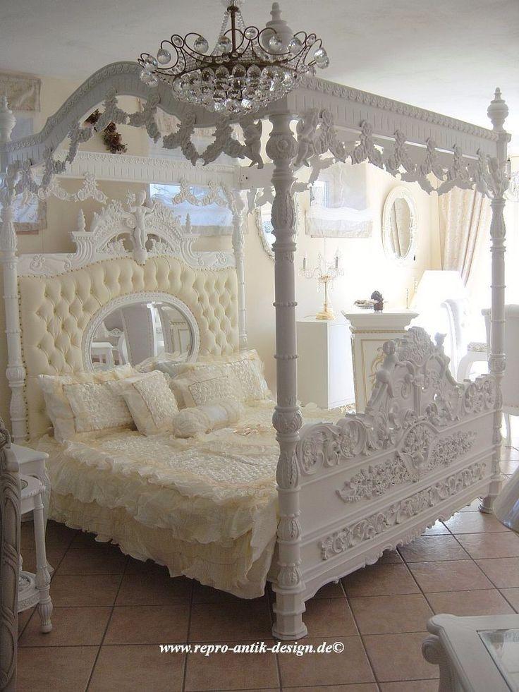 Himmelbett Barock Bett Weiß Engel Prunkbett Mahagoni Massivholz Barockbett gold | eBay