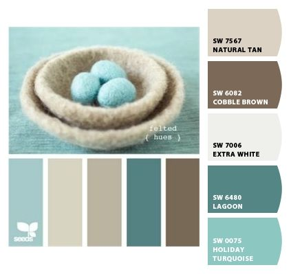 Paint colors from Chip It! by Sherwin-Williams: Natural tan, Cobble Brown, Extra White, Lagoon, Holiday Turquoise.