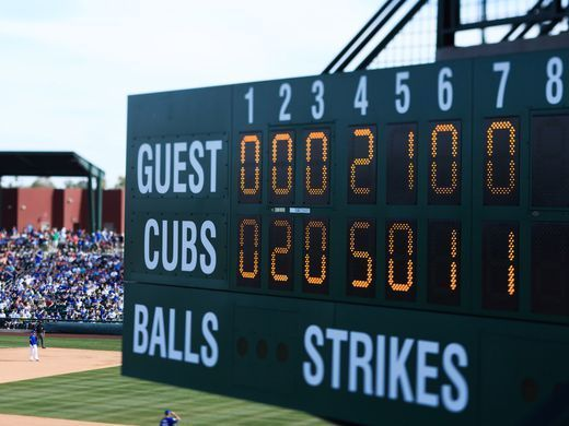 Mesa, Ariz.: One of the scoreboards at the Cubs home