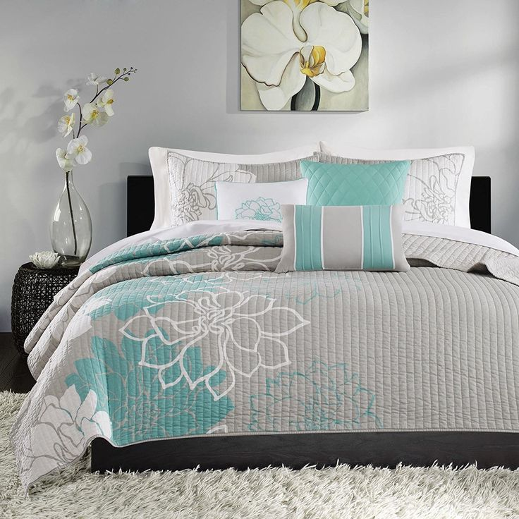 Stunning Grey Blue White King/Cal King Coverlet Set Stylish Contemporary Floral Themed Bedding Aqua Turquoise Modern Gorgeous Summer Lily Pretty Slate