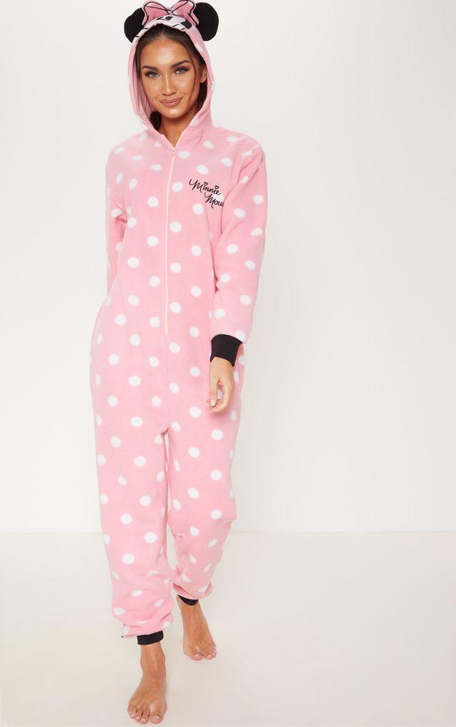 Overall Fleece Schlafanzug Pyjama Onesie Disney MINNIE MAUS Rosa