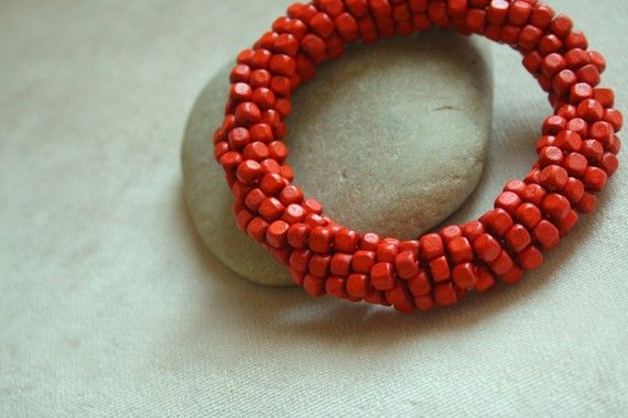 https://www.etsy.com/listing/60405258/coral-red-wood-beaded-bracelet