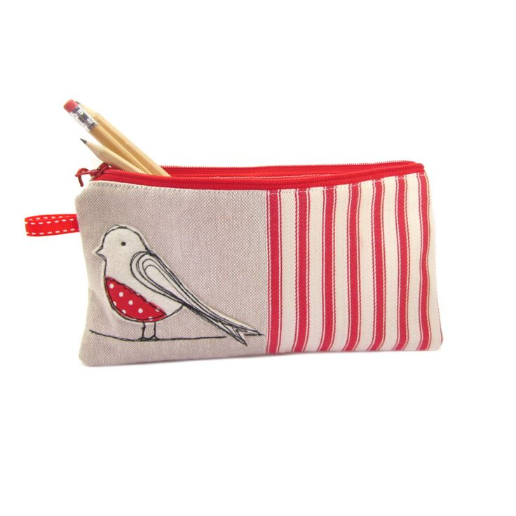 Pencil Case, Pencil Bag, Bird Pencil Case, Red Pencil Case, Large Pencil Case, Pencil Holder by modernandvintage on Etsy https://www.etsy.com/listing/102220796/pencil-case-pencil-bag-bird-pencil-case