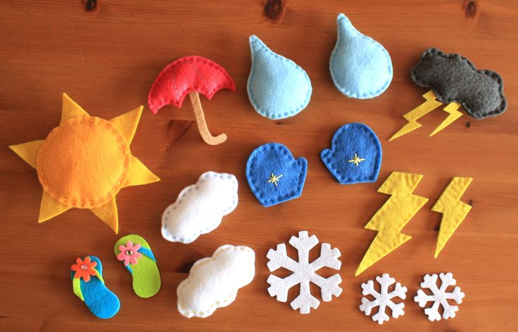 Felt Weather Magnets 16 pack. $22.00, via Etsy (for weather board)