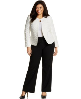 Tahari ASL Plus Size Chevron Long-Sleeve Jacket & Flat-Front Stretch Trousers