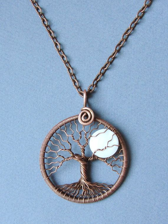 Necklace Full Moon copper tree of life pendant White moon Jewelry by MagicWire