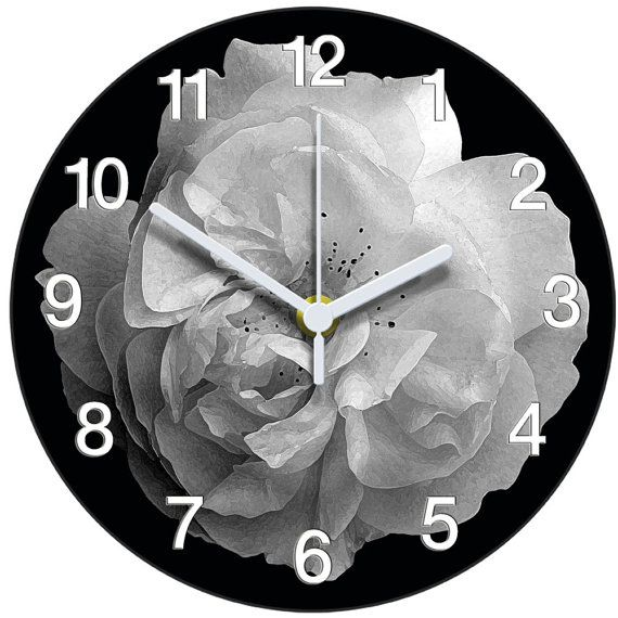 Black and white rose clock by AtticLightHome on Etsy