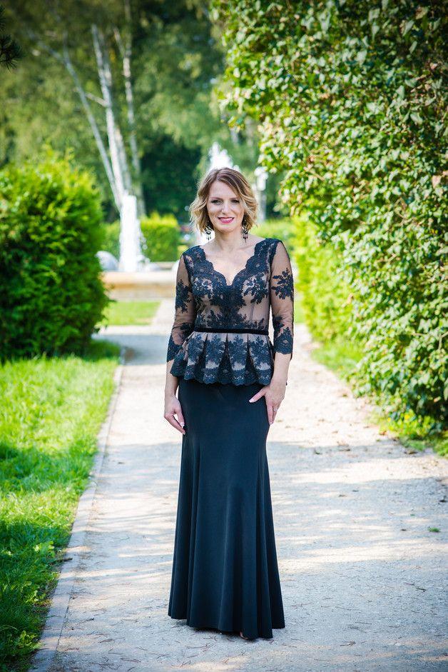 Sukienka wieczorowa czarna koronka Jade JORDJA - jordja - Suknie wieczorowe