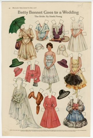 75.2940: Betty Bonnet Goes to a Wedding: The Bride   paper doll   Paper Dolls   Dolls   National Museum of Play Online Collections   The Strong