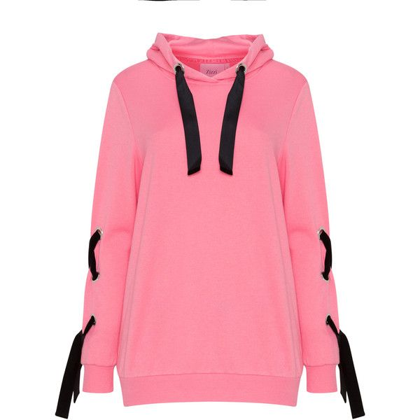 Zizzi Pink / Black Plus Size Laced hoodie ($47) ❤ liked on Polyvore featuring tops, hoodies, pink, plus size, pink hoodies, plus size hoodie, plus size hooded sweatshirts, long sleeve tops and plus size hoodies
