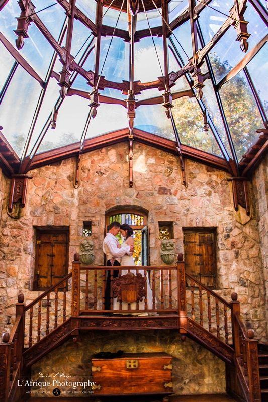 wedding photo in old tower @Shepstone Gardens
