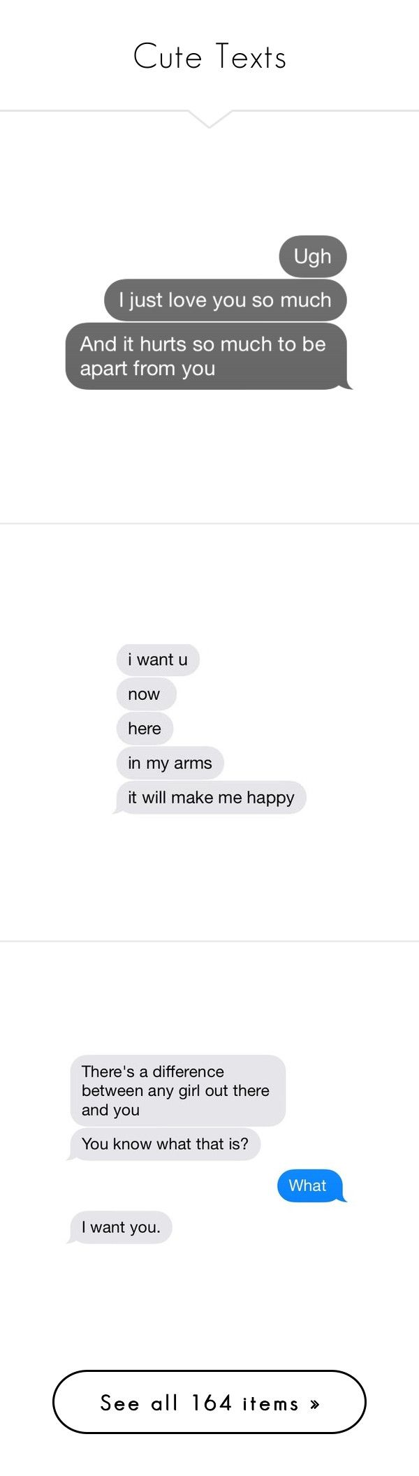 """""""Cute Texts"""" by purple-unicorn013 ❤ liked on Polyvore featuring fillers, text, quotes, other, text messages, phrase, saying, words, pics and emojis & texts"""