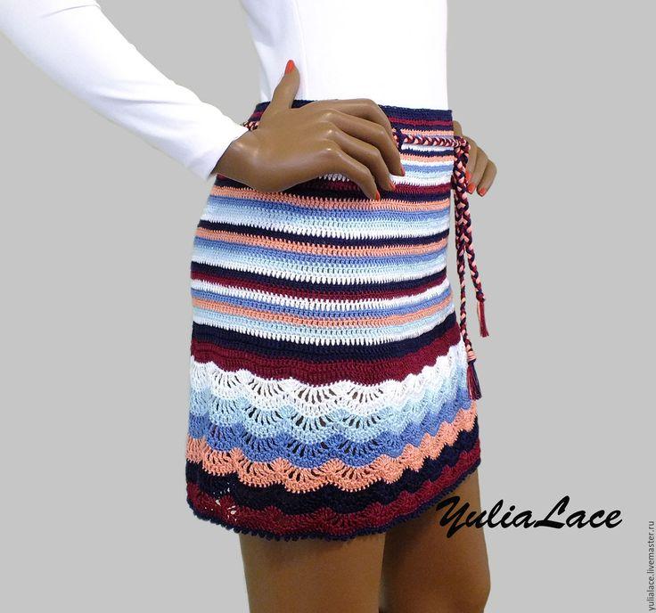 Купить или заказать Вязаная юбка в интернет-магазине на Ярмарке Мастеров. Юбка связана крючком из 100% хлопка. Можно связать из другой пряжи. Длина 38-39 см. Плетеный поясок в комплекте. Возможно выполнение в другом…