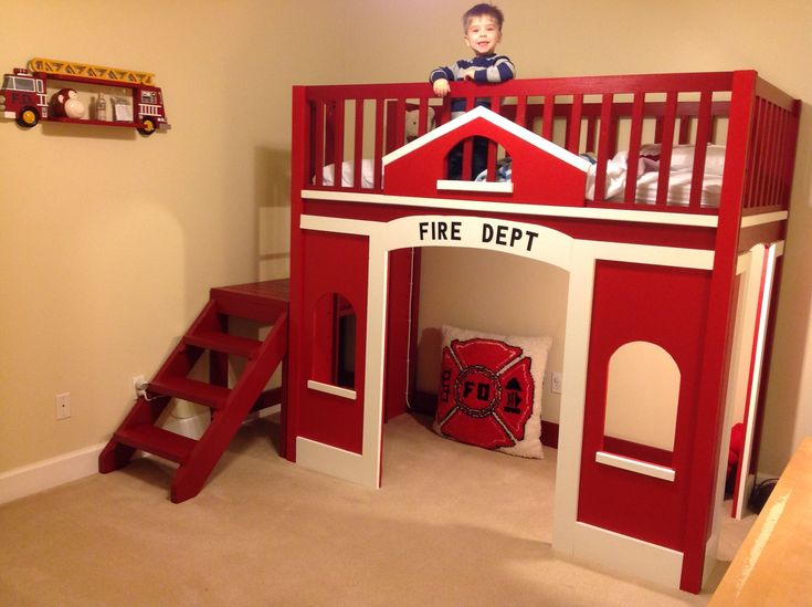Vorhang Kinderzimmer Feuerwehr : Childs Fire Station Loft Bed  Do It Yourself Home Projects from Ana