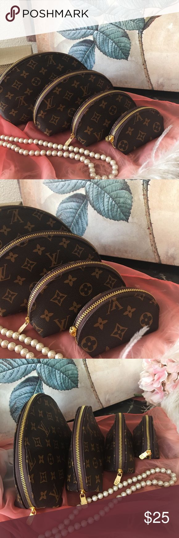 Monogram cosmetic bag set of 4 NEW Set of 4 monogram faux leather cosmetic/makeup bags/storage bags. Please see photo for all measurements. These are faux LV. none Bags Cosmetic Bags & Cases