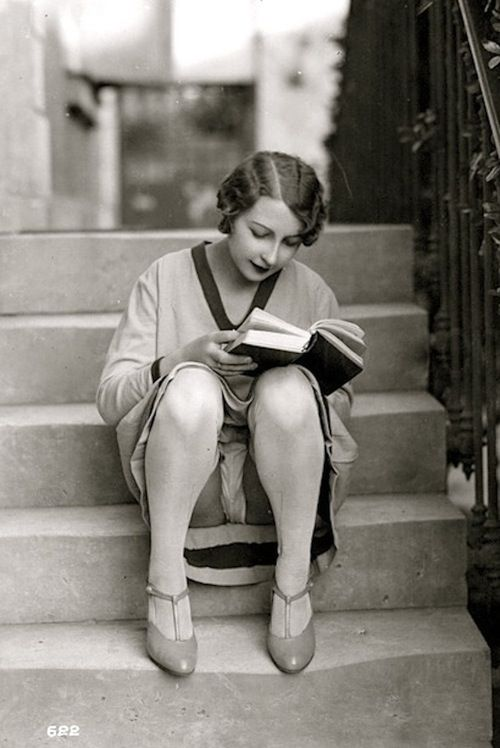 Risqué Reader | French postcard | 1920's | read | black & white | vintage feel | love | cheeky | cool photo | photography