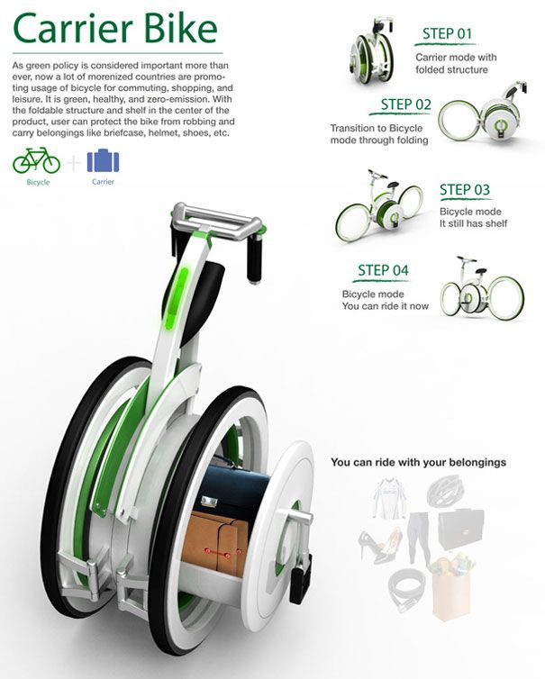 Carrier bike: a convenient carrier, shelf located in the middle of the bicycle, designed to help carry the users luggage.