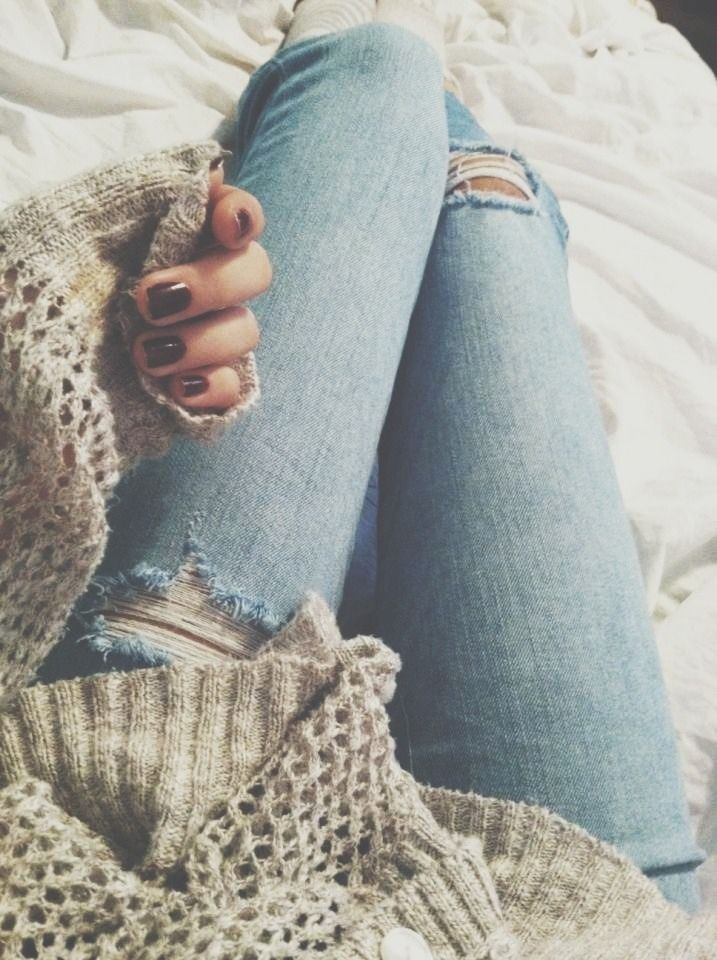 Sweaters, jeans and pretty nails.