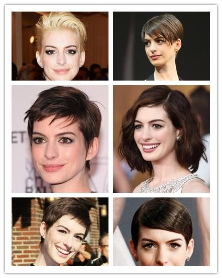Anne Hathaway took a risk to cut off her long #hair  into cute short pixie. Love her sleek, straight or wavy short #hairstyles  for 2013, do you?