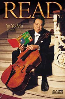 Cellist Yo-Yo Ma, 2001. Reading Margaret Wise Brown and Clement Hurd's Goodnight Moon.  ALA Celebrity READ Campaign.