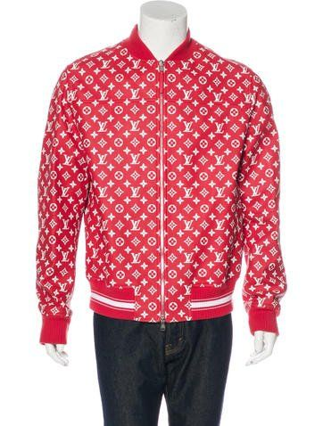 Louis Vuitton Limited Edition. From the Summer 2017 Collaboration. Men's red and white Louis Vuitton x Supreme leather monogram bomber jacket with dual slit pockets, charcoal monogram satin jacquard lining, dual interior slit...