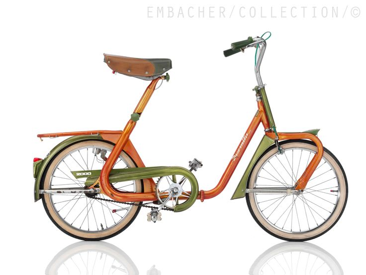"""DUEMILA  ~ 1968, ITA  Frame: Steel varnished  Bicycle gearing: 1 Speed  Brakes: Rim Side Pull / Coaster Brake  Tyres: 20"""" Wired Tyre / 20"""" Wired Tyre  Weight: 42,99 lbs"""