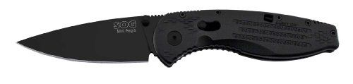 SOG Specialty Knives and Tools AE22-CP Aegis Mini Knife with Straight Edge Assisted Folding 3-Inch AUS-8 Steel Blade and GRN Handle, Black TiNi Finish >>> You can find out more details at the link of the image.