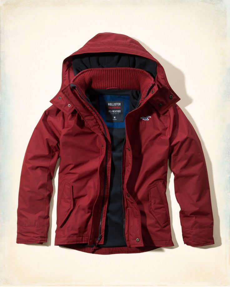 Water- and wind-resistant fabrication with fleece lining through body, ribbed cuffs and collar, mock neck, cozy hood, front pockets and zipper and snap closure, Imported