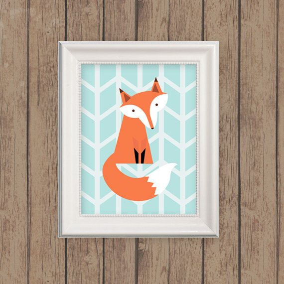 Fox Art Print - Herringbone Fox Woodland Nursery Art in Light Blue on Etsy, £11.87