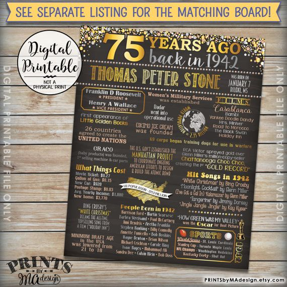 """75th Birthday 1942 Printable Chalkboard Style Invitation -- A fun birthday invite filled with facts, events, and tidbits from 1942. INCLUDES THE FRONT & BACK!  This Listing Includes 2 high-res 5x7 digital printable files: - 1 COLOR invitation front - 1 BLACK & WHITE invitation back *** DIGITAL PRINTABLE FILES ONLY! No physical prints will be sent *** • 5x7"""" digital printable file. • RUSH ORDER AVAILABLE! See below for info. • This digital print comes with the facts AS SHOWN in the exa..."""