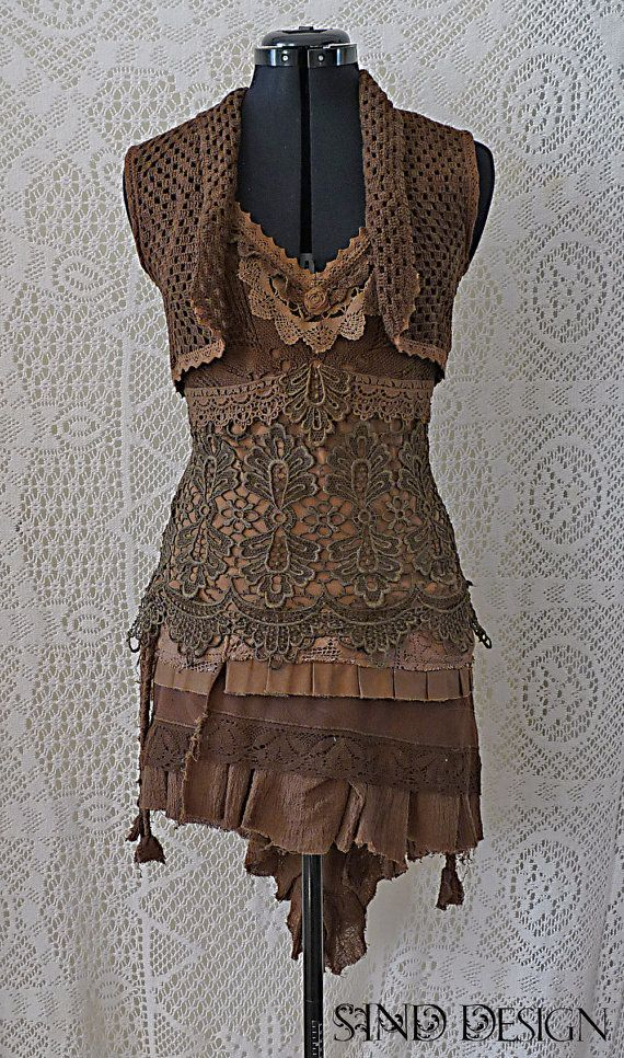 CROCHET LACE VEST gypsy pixie steampunk boho victorian shrug  This piece is designed and sewn by a professional designer and tailor  This vest made of