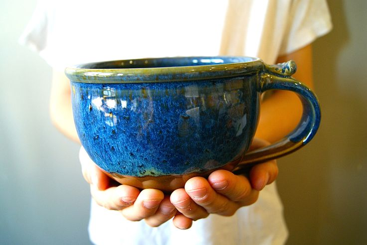 MADE TO ORDER... Soup Mug / Cappuccino Mugs/ Handmade Pottery / Blue and Brown by RiverStonePottery on Etsy https://www.etsy.com/listing/215177381/made-to-order-soup-mug-cappuccino-mugs