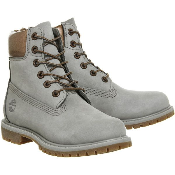 Timberland Premium 6 Boots Steeple Grey Copper Collar ($210) ❤ liked on Polyvore featuring shoes, boots, timberland boots, timberland shoes and timberland footwear