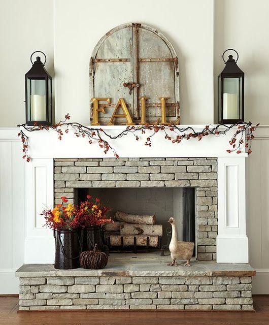 Fall Autumn Halloween Home Decor Fireplace Mantle Ideas by I Heart Shabby Chic 2016 | I Heart Shabby Chic