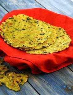 This roti is a simple way of disguising methi in your regular meals. Methi is an excellent source of iron and vitamin A and is really low in calories. Fresh green chillies add pungent accents to these rotis.