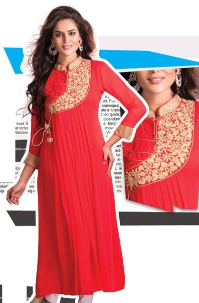 Red Faux Georgette Flower Patch Work Long Kurti    38362