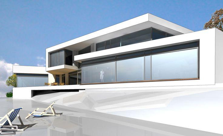 luxush user in modernem design und formsprache dieses luxushaus wurde f r eine leichte hanglage. Black Bedroom Furniture Sets. Home Design Ideas