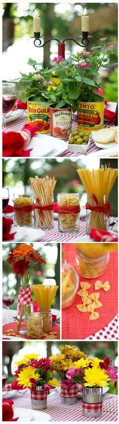 Ideias de decoração criativas e baratas para festas com o tema pizzaria ou jantar italiano.