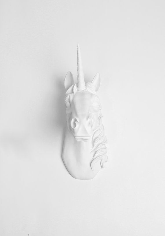 The Original Bayer unicorn head wall mount created exclusively by White Faux Taxidermy. The Bayer, our exclusive white resin unicorn head, is
