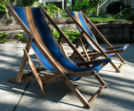 SPRING SALE Pair Antique Folding Beach Chairs   Striped Canvas Wooden Beach  Lounge Chairs   Fabulous Design