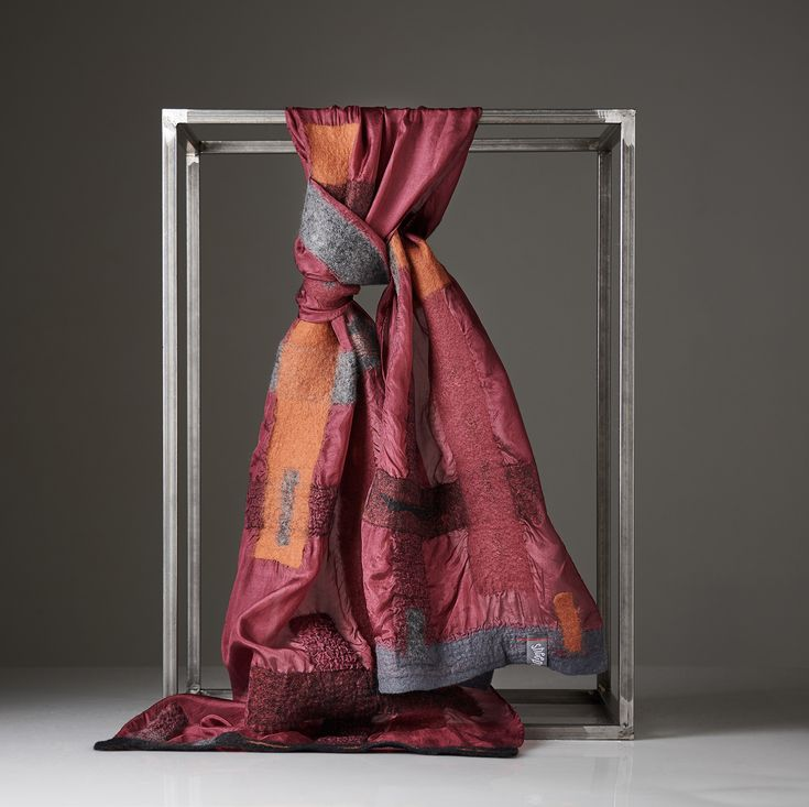 """LINES"" silk pongé scarf decorated with merino wool and silk fibres. In wine red silk. Handmade, ethereal and unique. With Nuno Felting Technique."