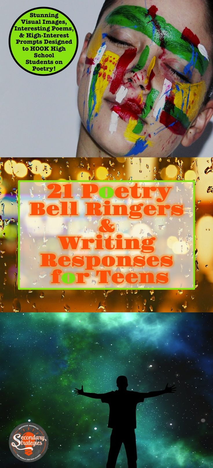 These Poetry Bell Ringers and Writing Responses are perfect for National Poetry Month – or any month in which you'd like to infuse your teaching with poetry and writing. 21 stunning photographs with equally awesome poems and prompts designed to engage high school students. 36 slides plus 10 printable handouts for students. Writing Responses require analysis and textual evidence. Secondary Strategies on Tpt