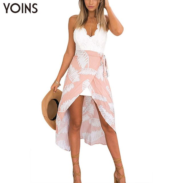 Today Sale $15.99, Buy YOINS Women Sexy Sleeveless Dress Casual V Neck Backless Spaghetti Strap Dresses Vestidos Lace Patchwork Beach Wear