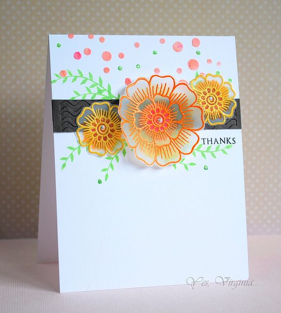 """Gorgeous flowers embossed on vellum! Flowers are stamped with Altenew """"Hennah Elements"""" stamps. Thanks card by Virginia L"""